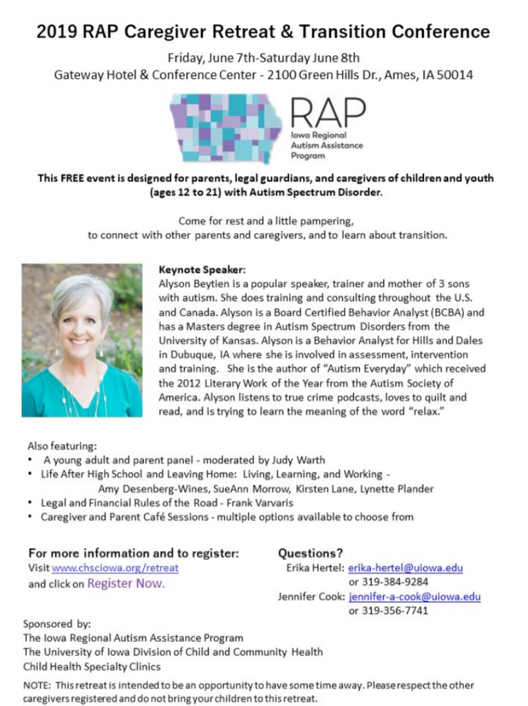 2019 RAP Caregiver Retreat and Transition Conference @ Gateway Hotel and Conference Center